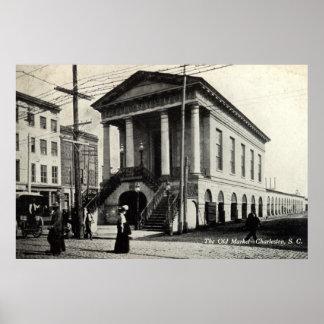 Old Market Charleston SC Vintage 1910 Poster
