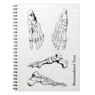 Old Medical Art Human Anatomy Bones of the Foot Spiral Notebook