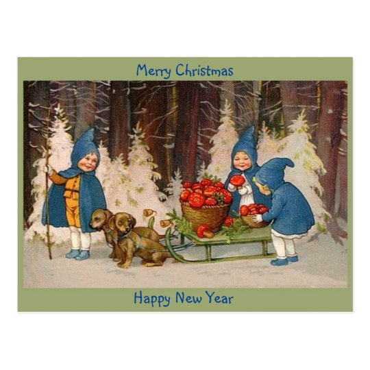 Old Merry Christmas Cute Kids, Puppies, Mushrooms Postcard
