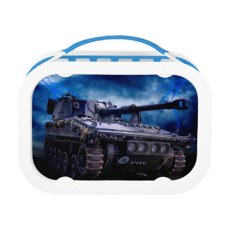 Old military tank lunch box