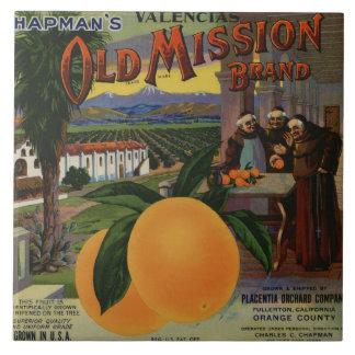 Old Mission Orange Crate Label Large Square Tile