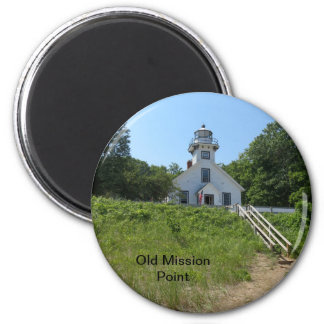 Old Mission Point Lighthouse 6 Cm Round Magnet