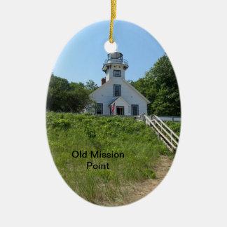 Old Mission Point Lighthouse Ceramic Oval Decoration