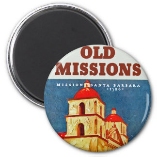 Old Missions ~ Santa Barbara 6 Cm Round Magnet