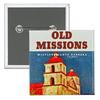 Old Missions ~ Santa Barbara 15 Cm Square Badge