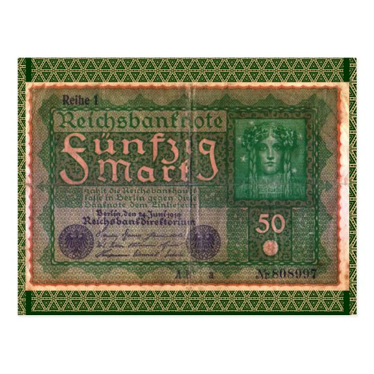 Old Money: 50 German Mark Postcard