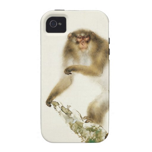 Old Monkey with Cherry in Autumn iPhone 4 Case