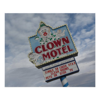 Old Motel Sign Clown Motel Nevada Photograph Poster