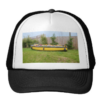 Old Motor Boat With Flowers Mesh Hats