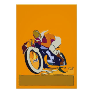 Old Motorcycle Racer, add text Poster