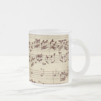 Old Music Notes - Bach Music Sheet Frosted Glass Mug