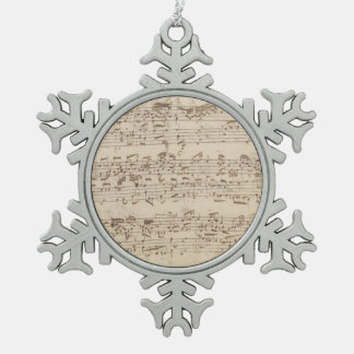 Old Music Notes - Bach Music Sheet Pewter Snowflake Decoration