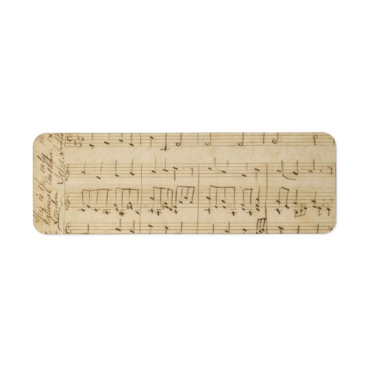 Old Music Sheet Vintage Look Return Address Label