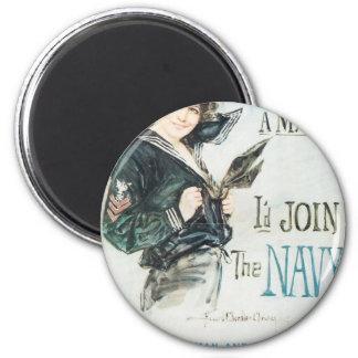 Old Navy Poster circa 1918 6 Cm Round Magnet