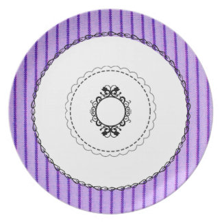 """Old & New""  Eggplant & Black Monogram Party Plate"
