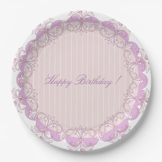 """"""" Old & New """" Happy Birthday Monogram Ready 9 Inch Paper Plate"""