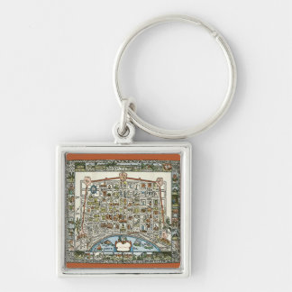 Old New Orleans Map Silver-Colored Square Key Ring