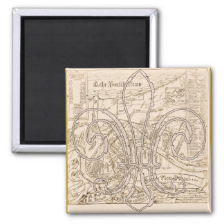 Old New Orleans Map with Fleur Magnet