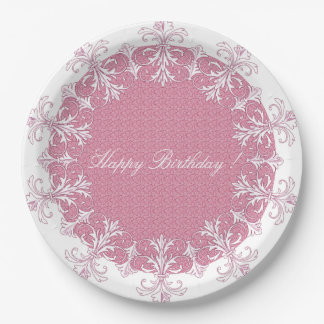 """"""" Old & New """"Pink/White Happy Birthday Monogram 9 Inch Paper Plate"""