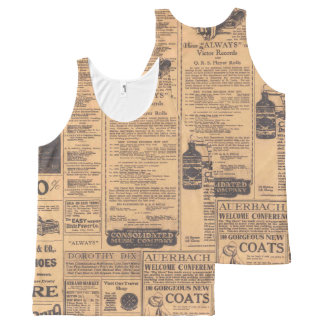Old Newspaper Page Look All-Over Print Tank Top