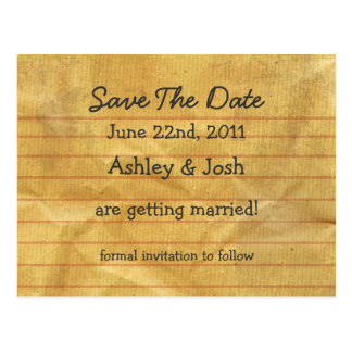 Old Note Paper Save The Date Post Cards