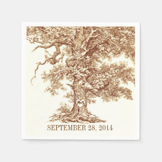 old oak tree - love tree paper napkins