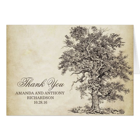 Old oak tree vintage thank you cards