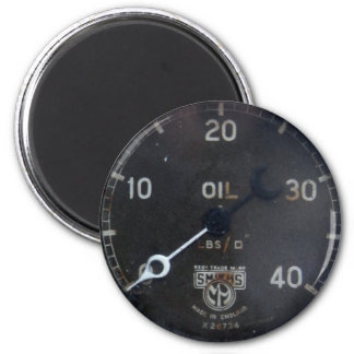 old oil pressure gauge / instrument / dial / meter 6 cm round magnet