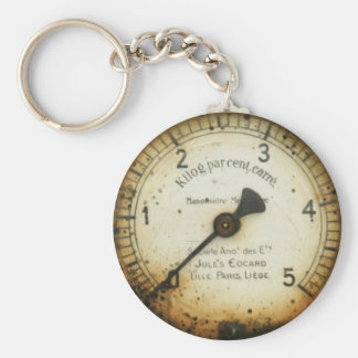 old oil pressure gauge / instrument / dial / meter basic round button key ring