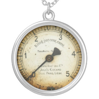 old oil pressure gauge / instrument / dial / meter round pendant necklace