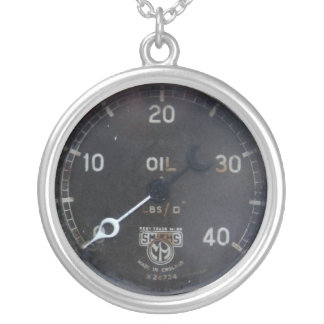 old oil pressure gauge / instrument / dial / meter silver plated necklace