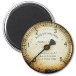 old oil pressure gauge / instrument / dial / metre 6 cm round magnet