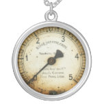 old oil pressure gauge / instrument / dial / metre round pendant necklace