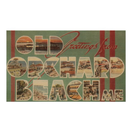 Old Orchard Beach, Maine - Large Letter Scenes Poster