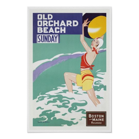 Old Orchard Beach, Maine - Vintage Travel Art