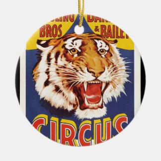 Old original vintage tiger circus poster 1900s round ceramic decoration