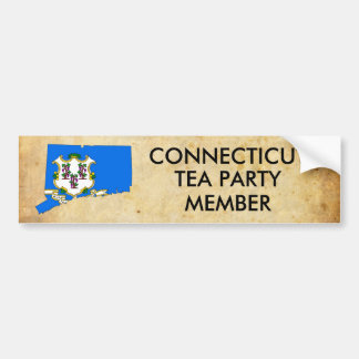 old_paper, 522px-Flag-map_of_Connecticut.svg, C... Bumper Sticker
