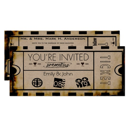 Old Paper Ticket Vintage Modern Typography Wedding Card