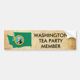 old_paper, washington_flag_map, WASHINGTON, TEA... Car Bumper Sticker