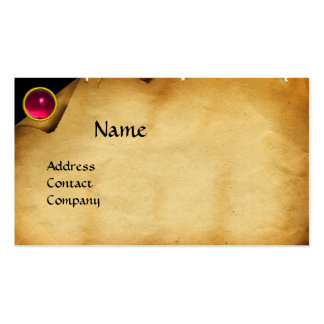 OLD PARCHMENT, GEM STONE, MONOGRAM pink Business Card Templates