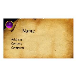 OLD PARCHMENT, GEM STONE, MONOGRAM purple Business Cards