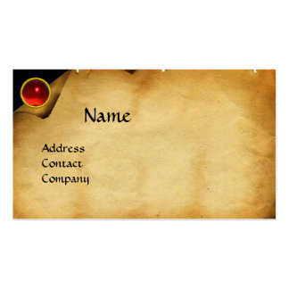OLD PARCHMENT, GEM STONE, MONOGRAM red Business Card Templates
