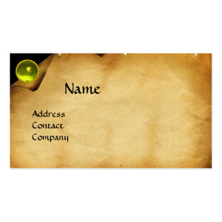 OLD PARCHMENT, GEM STONE, MONOGRAM yellow Business Card