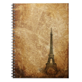 Old Paris Map and Eiffel Tower Spiral Notebook