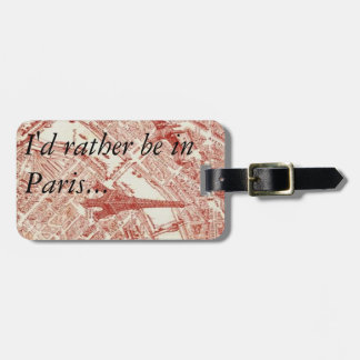 Old Paris Map Luggage Tag