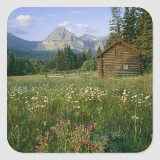 Old Park Service cabin in the Cut Bank Valley Square Sticker