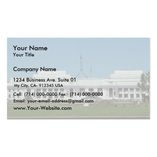 Collections of parliament business cards old parliament house of canberra across the lake business card template reheart Gallery