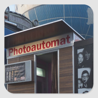 Old photo booth in Berlin, Germany Square Sticker
