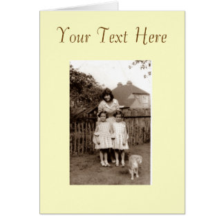 Old photo cute identical twin girl sisters and cat note card