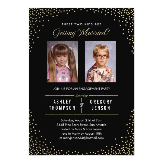 Old Photo Modern Gold Sparkle Engagement Invites